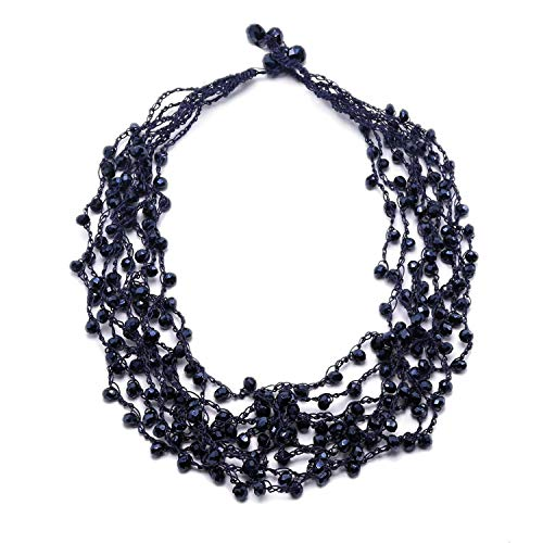 So Pretty Beads Collar Necklace for Women Handmade Multi-Row Dark Blue Glass Beads Statement Necklace