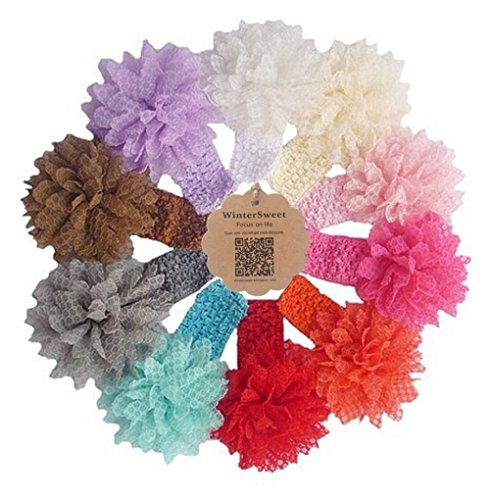 Baby Girl's South Korea Silk Lace floral Sun flower Headbands Elastic Hair Band(Pack of 10) (Green Giant And Sprout Costumes)