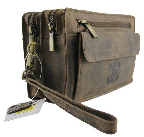 Arm-Gelenktasche Tasche Herrengelenktasche Herrentasche Leder Tasche neu brown