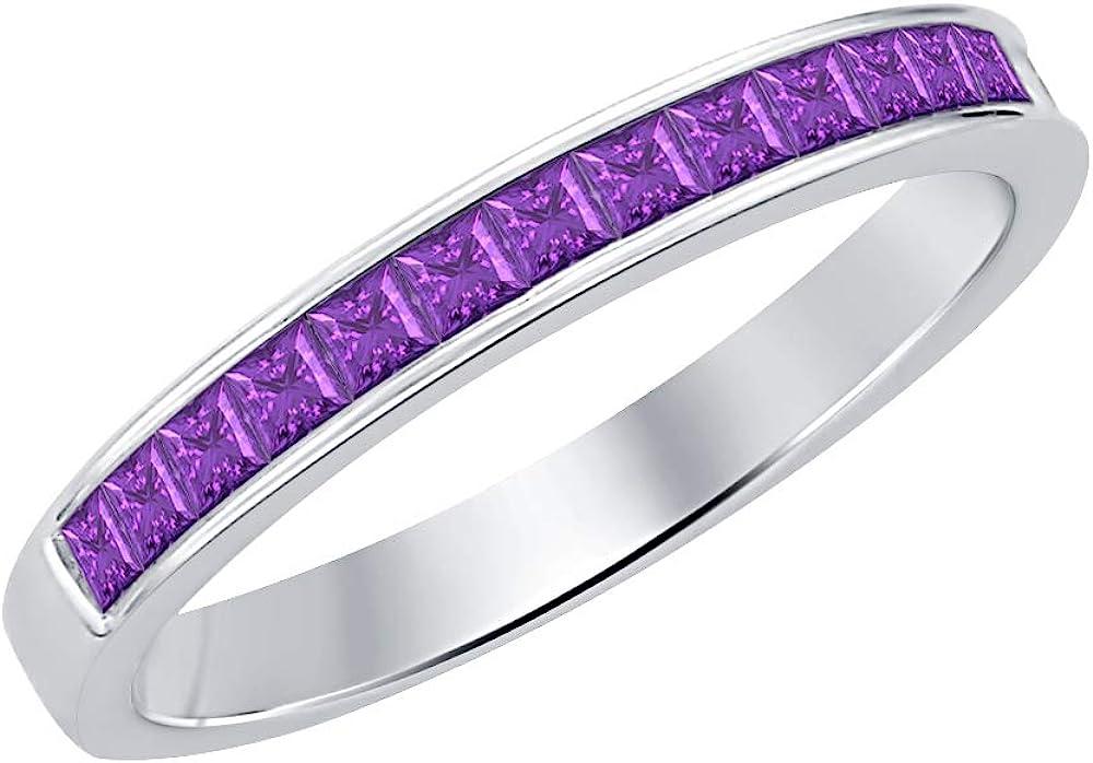 tusakha 14k Black Gold Plated Round Cut Created Purple Amethyst 9-Stone Mens Wedding Band Anniversary Ring