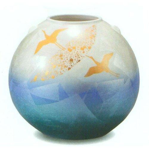 九谷焼 K3-1418 花瓶 8号 銀彩金鶴 φ24.5×22.5cm 木箱 B00DOSMNUK