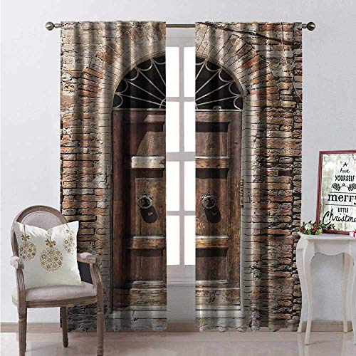 Hengshu Tuscan Room Darkening Wide Curtains Historical Street Full of Colorful Flowers Small Town Italy Sunny Day Umbria Waterproof Window Curtain W84 x L96 Brown and White