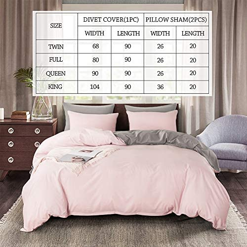 3 Pieces Soft Duvet Cover Set, 100% Washed Microfiber Bedding Set, Reversible Comforter Cover for All Season (1 Duvet Cover and a couple of Pillow Sham) (Pink/Light Grey, Queen)