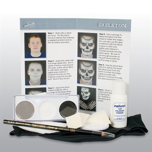 Skull Face Makeup (Mehron Skeleton Makeup Character Kit)