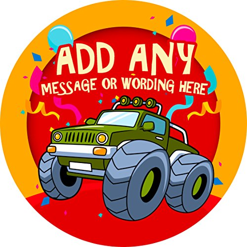 Monster Truck Sticker Labels (24 Stickers, 1.8'' Inch Each) Personalized Seals Ideal for Party Bags, Sweet Cones, Favours, Jars, Presentations Gift Boxes, Bottles, (Photo Personalized Favor Bags)