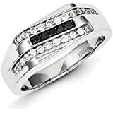 Sterling Silver Rhodium Plated Black and White Diamond Mens Ring - Ring Size Options Range: T to V