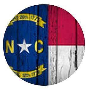 alfombrilla de ratón Antecedentes de Carolina del Norte del Grunge de la bandera del estado - ronda - 20cm