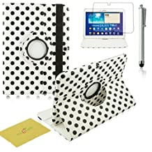 Fulland Colorful 360 Rotating Flip Leather Case Cover for Samsung Galaxy Tab3 10.1 P5200 with Smart Auto Wake/Sleep Function plus Stylus Touch Screen Pen and Screen Protector-Polka Dot Black/White