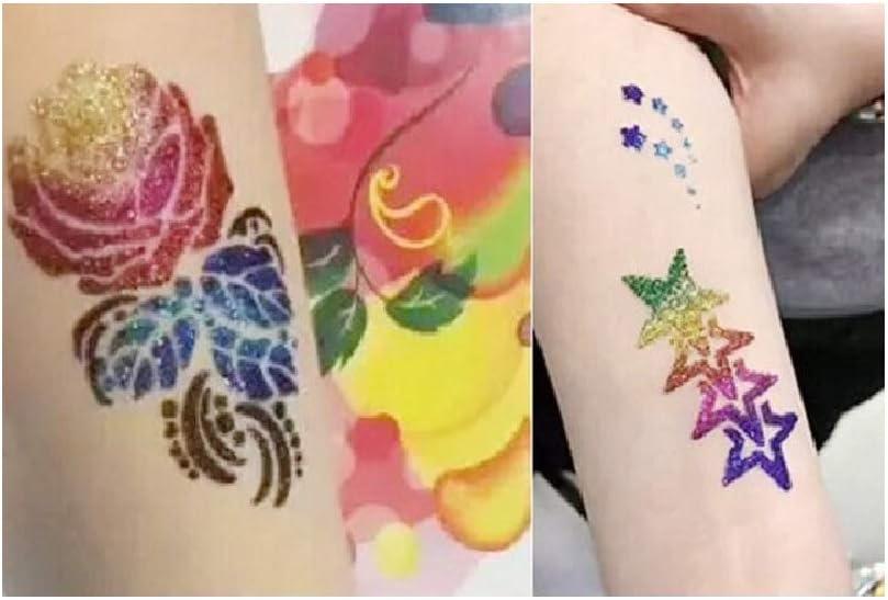 Plantillas para tatuaje con brillo Henna glitter tattoo stencils ...