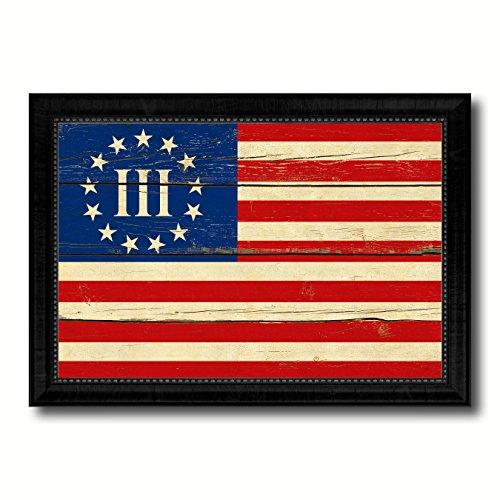 3 Percent Betsy Ross Nyberg Battle III Revolutionary War Military Vintage Flag Black Framed Canvas Print Home Decor Wall Art Gifts Signs Cards, 19