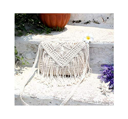 (Fantastic Studio Hot Sale Cotton Rope Handmade Lady With Tassels Straw Beach Bag Woven Bag Shoulder Bags Women Messenger Bag,As Picture3)