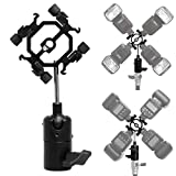 Mekingstudio 4 Way Hot Shoe Mount Light Stand Mount Flash Bracket with Umbrella Holder for Canon Nikon Yongnuo Godox Pentax Sigma Speedlight, LED Monitors, Microphones