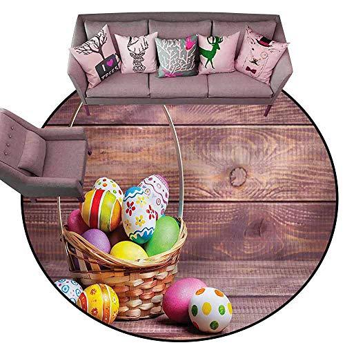 - Designed Kitchen Bathroom Floor Mat Colorful Easter,Flowers and Polka Dots Diameter 60