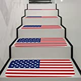 YJYDADA Mat,Independence Day 5Pcs StepBasic Non-Slip Coral Fleece Resistant Carpet Stair Mat