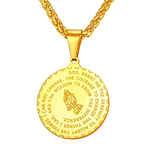 RONLLNA Bible Verse Prayer Necklace Free Chain Christian Jewelry Stainless Steel Praying Hands Coin Medal Pendant (Gold)
