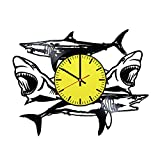 The Sharks Vinyl Record Wall Clock – Get unique living room wall decor – Gift ideas for teens, father and men – Animal Silhouette Unique Modern Art Review