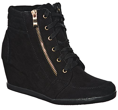 Fashion Hi Women's Shoewhatever Wedge Sneakers top Lace up Black56 Pl 0wTqqxdg