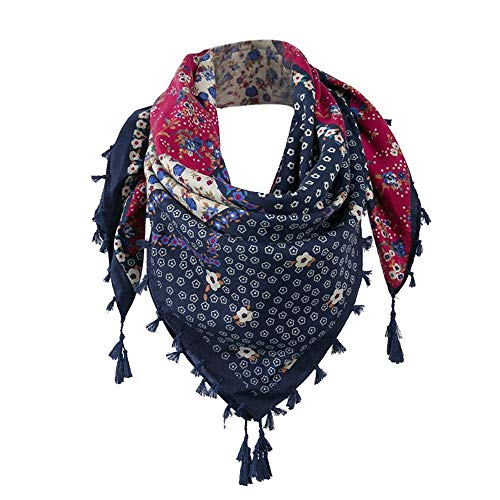 CHIDY Scarves Fashion Lady Women Floral Prints Tassel Shawl Scarf(Marine)