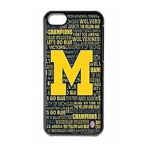 Custom Michigan Wolverines Plastic Case for iPhone 5c, DIY Michigan Wolverines Iphone 5C Shell Case, Customized Michigan Wolverines iPhone 5c Cover Case WANGJING JINDA