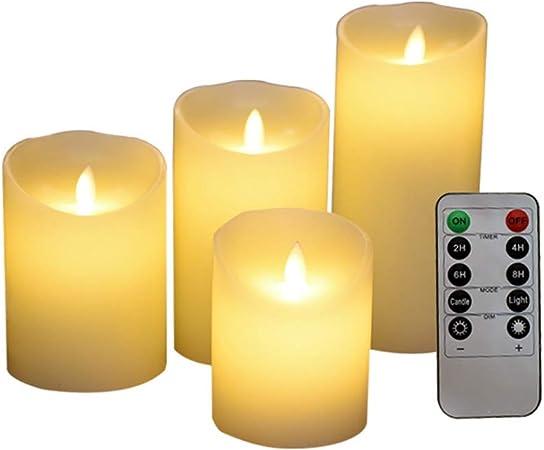 JTYR Velas de LED sin Llama,Pack de 4,con Mando a Distancia y Temporizador Velas Decorativas para Bodas, Navidad,Baño,Dia de San Valentin [Clase de eficiencia energética A+]: Amazon.es: Hogar