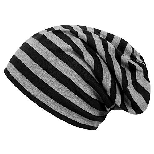 DJT Unisex Striped Slouchy Beanie Skull Hat Black