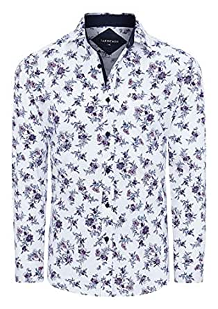 Tarocash Men's Rick Stretch Floral Shirt White Xs Regular Fit Long Sleeve Sizes XS-5XL for Going Out Smart Occasionwear