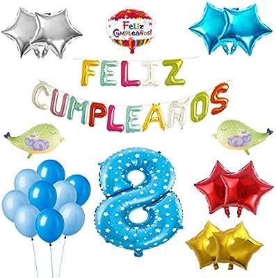 COTIGO-Globos Feliz Cumpleaños Happy Birthday Fiesta Party Docoración para Niños 108 Piezas Globo Látex Azul Color Azul Años 8