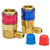 big-autoparts R134a AC Manifold Gauge Hose Conversion Kit High & Low Quick Adapter Fitting Air Coupler, 1/4 in, ACME