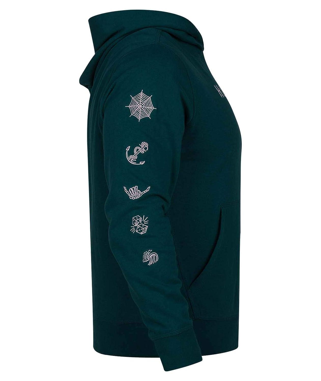 Hurley Mens Atlas Lightweight Graphic Pullover Fleece Hoodie
