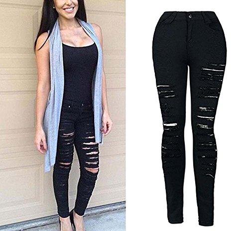 Huateng Ajustados negro Mujeres De Desgarrados Jeans Para Mezclilla fqUf8w7