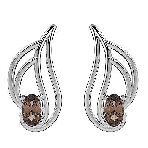 (0.55ctw,Genuine Smoky Quartz & Solid 925 Sterling Silver Stud Earrings)