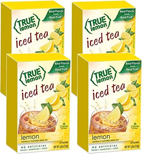 - LEMON ICED TEA MIX by TRUE LEMON | Instant Powdered Drink Packets That Quench YOUR Thirst, Kit Includes 4 Boxes, 24ct of Mouth Watering True Citrus LEMON (ICED TEA)