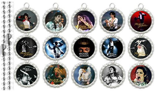 15 Michael Jackson Anniversary Silver Bottle Cap Pendant Necklaces Set ()