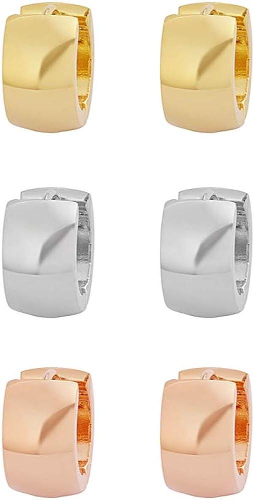 Edforce Stainless Steel Men's Women's Small Huggie Hoop Earrings Triple Set, Three Pairs
