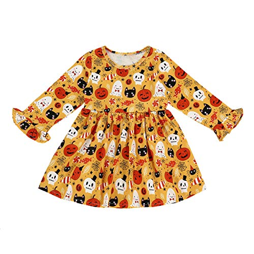 Merqwadd Toddler Baby Girl Halloween Outfit Flare Sleeve A-Line Dress Fall Clothes (4-5T,Yellow)