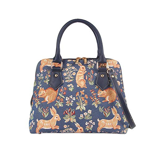 Signare-Tapestry-Handbag-Satchel-Bag-Shoulder-bag-and-Crossbody-Bag-and-Purse-for-women-with-Millie-Fleur-Rabbit-and-Squirrel-Blue-CONV-FORE