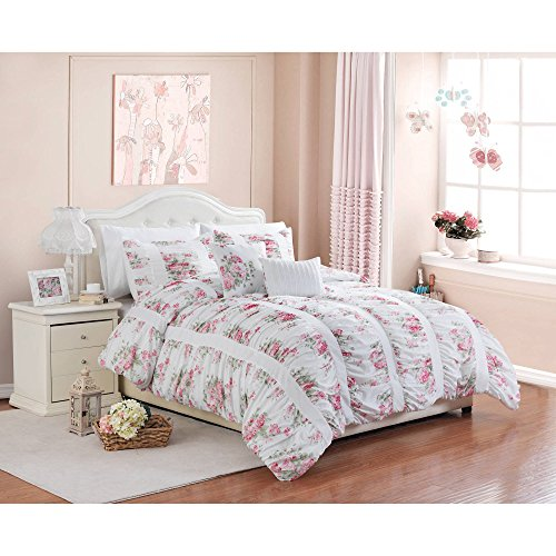 Luxlen 5 Piece Floral Ruching Comforter Set, Better Homes and Gardens, Full/Queen - Floral Bed Set
