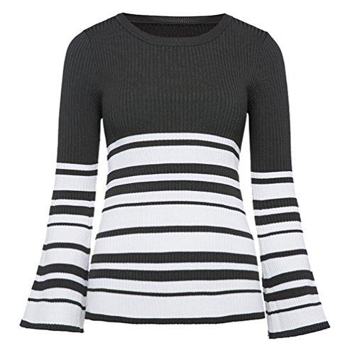 9d7ffe01aca3 Zhiyuanan Damen Mode Slim Sweater Lange Ärmel Rundhalsausschnitt Stricken  Sweatshirt Weich Komfortabel Warm Streifen Pullover Armee