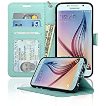 Samsung Galaxy S6 Wallet Folio Leather Life Protective Case with Four Card Pockets & Money Slot, Removable Strap - Navor (Mint)