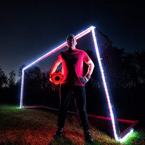 GlowCity Light-Up Soccer Goal and Ball-Kit - Play Glow-in-Dark Soccer at Night with Super Bright LED Lights - Includes Ball and Goal Lights but not Net - (Green)