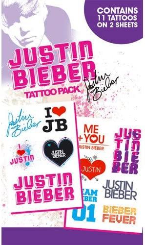 Justin Bieber Tattoo Pack (tatuajes temporales): Amazon.es ...