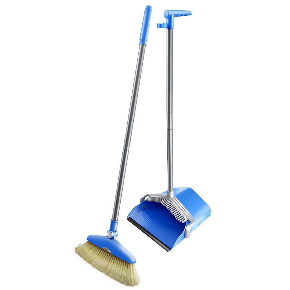 Masthome Standing Upright Grips Sweep Set with Long Handle Angle Broom and Lobby Dust pan for Home Office Cleaning