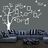 TT Marketing Photo frame tree wall stickers Removable Wall Decor Decal Stickers for livingroom/gallery/family/office/study rooms decor (94AB-WHITE-RIGHT)