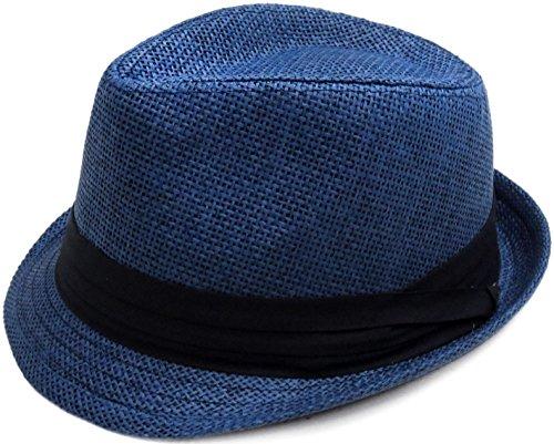 Livingston Unisex Summer Straw Structured Fedora Hat w/Cloth Band, Navy, L/XL