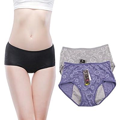 Women Menstrual Period Briefs Jacquard Easy Clean Panties Multi Pack Size 4-10