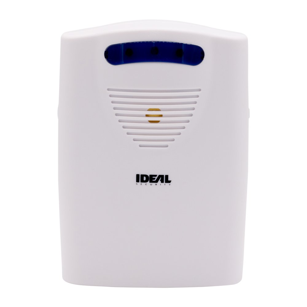 Ideal Security SK664 SK6 Wireless Chime 6 Different Sounds, LED Alert, Battery Powered, Works Sensors, White