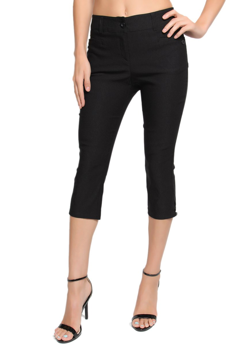 TheMogan Women's Slit Pocket Mid Rise Stretch Black Capri Trousers Black 1XL