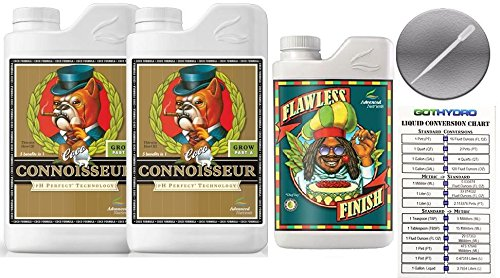 Advanced Nutrients Connoisseur Coco Grow A B 1L & Flawless Finish 250mL w/GotHydro Conversion Chart & Pipette