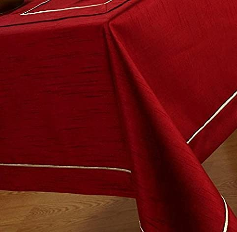 Elegant Burgundy With Gold Trim Tablecloth 70 X 90 Oblong By HOME CREATIONS