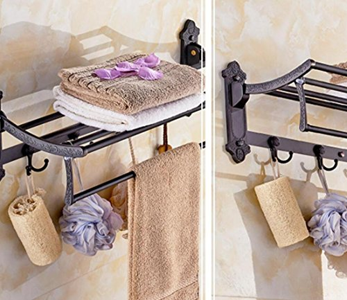 GL&G European luxury black Bathroom Bath Towel Rack Double Towel Bar With hook Bathroom Storage Organizer Shelf Bathroom Accessories Holder Towel Bars Wall Mount Towel Bars,6023.513.5cm by GAOLIGUO (Image #1)